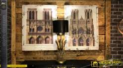 Série de deux toiles représentant la cathédrale de Notre Dame de Paris, 80x60cm