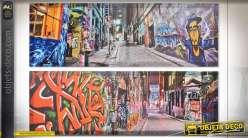Série de deux tableaux Street Art, esprit graffitis et tags, 90cm