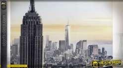 TABLEAU TOILE PS 144X3.5X84 NEW YORK ENCADRÉ NOIR