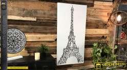 Grande toile en noir et blanc, tour Eiffel composée d'êtres humains, style moderne
