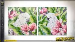 TABLEAU TOILE 100X3X100 CACATOES 2 MOD.