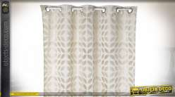 RIDEAU POLYESTER 140X270 180 GSM. FEUILLES BEIGE