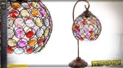 Lampe de table en métal cuivré avec réflecteur à cabochons multicolores 58 cm