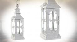 Lanterne blanche rétro en métal effet vieilli 40 cm