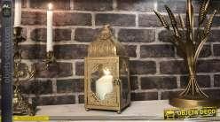 Lanterne orientale en métal doré blanchi 34 cm