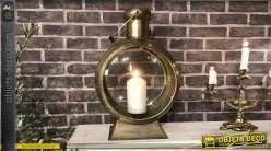 Lanterne sémaphore vintage finition métal doré 56 cm