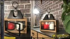 Lanterne bois et métal style contemporain supports photophores