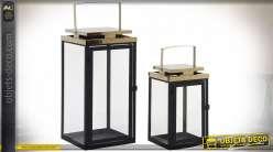 Set de 2 lanternes design en métal noir et doré 38 cm