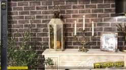 Lanterne hexagonale en métal doré brillante et blanc éraflé 55 cm