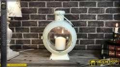 Lanterne sémaphore vintage en métal blanc vieilli 41 cm