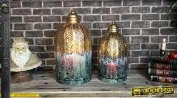 Lanternes cages dorées et blanches motif feuillages 51 cm