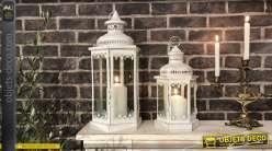 Set de 2 lanternes hexagonales patine blanc cassé vieilli 49,5 cm