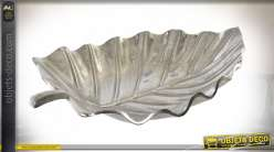 PLATEAU ALUMINIUM 40X25X6 FEUILLE CHROME
