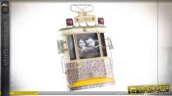 Cadre photo mural en métal en forme d'ancienne rame de tramway, ambiance vieux trains et finitions douces, 26cm