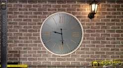 Grande horloge en métal et corde, style moderne industriel finition anthracite foncé, Ø80cm