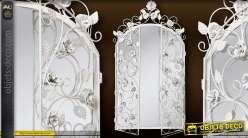 Miroir fenêtre en fer forgé couleur blanc antique