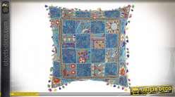COUSSIN COTON 60X60 850 GR. PATCHWORK BLEU CIEL