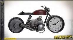 HORLOGE MÉTAL VERRE 42,5X14X19,5 MOTO