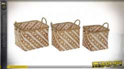 CORBEILLE SET 3 BAMBOU 41,5X39,5X30 MARRON
