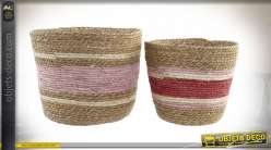 CORBEILLE SET 2 FIBRE 33X33X30 ROSE