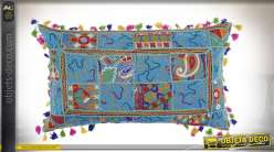 COUSSIN COTON 60X35 550 GR. PATCHWORK BLEU CIEL