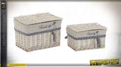 CORBEILLE SET 2 OSIER 34X24X24,5 POISSONS