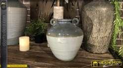 Vase en grès décoratif avec hanses, finition dégradé bleu gris brillant, 26cm