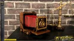 Déco en resine vintage, vieil appareil photo à soufflet finition cuivré