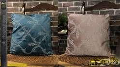 Série de 2 coussins décoratifs couleur vieux rose et bleu classique, chic et élégant, 45 x 45 cm