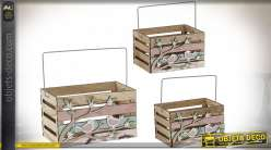 CORBEILLE SET 3 BOIS 20,5X12,5X22 NATUREL