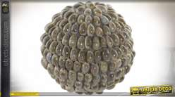 BOULE DECO COQUILLAGES 12X12X12 12 NATUREL BEIGE