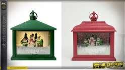 Duo de lanternes, rouge et verte, thème fêtes de Noël 24,5 cm