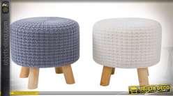 Duo de poufs repose-pieds en bois et tissu aspect tricotage laine Ø 35 cm