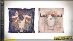 Série de deux coussins sur le thème Boho, en polyester clair et foncé