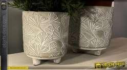Série de deux jardinières en ciment avec motif de feuilles, 2 tailles différentes