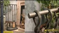 Valet de cheminée ne métal finition gris anthracite effet brossé, 4 accessoires et manches torsadées, 76cm