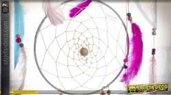 ATTRAPE-REVES PLUMES BOIS 60X2X45 ARROW ROSE