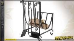 Porte bûches en fer forgé style antique avec 3 accessoires