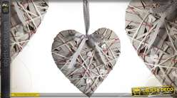 Coeur décoratif à suspendre en bois et osier