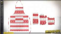 TABLIER SET 4 COTON 60X80 MOUFLE ROUGE