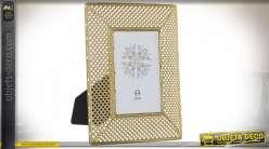Cadre photo à poser en métal et verre, inspiration orientale effet moucharabieh, finition dorée brillante, 10x15cm