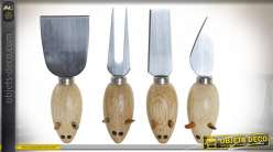 OUTILS SET 4 BAMBOU INOX 18X15X3,3 FROMAGE NATUREL