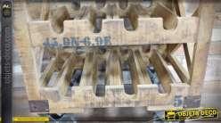 Bar chariot à vin de style industriel en bois vieilli et métal