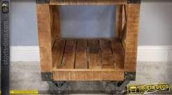 Table de chevet style draisine industrielle en bois et métal