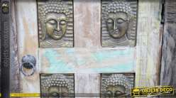 Table de chevet rétro et orientale en manguier massif vieilli et sculpté