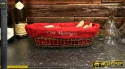 Banneton en osier brut foncé, doublure en coton rouge avec broderie frontale Coté Montagne, 38cm