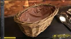 Banneton en osier brut effet ancien avec doublure plastique intérieur, forme ovale, 20cm