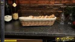 Banneton ovale en osier clair, doublure en coton épais finition couleur lin, 40cm