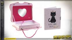 JOURNAL CARTON 23X5,4X18,5 CHAT MUSICAL ROSE