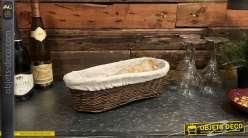 Banneton ovale en osier brut finition foncée avec doublure en coton épais, 38cm